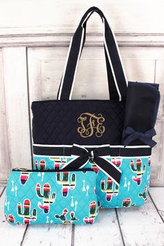 Se Cactus Quilted Diaper Bag Personalized Monogrammed Changing Pad