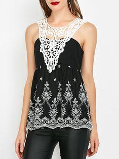 Crochet Trim Shirred Sleeveless Blouse - WHITE/BLACK L