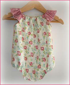 0-3mts - Flutter Playsuit – Rose Buds with Red Checks. onesies, girl, newborn.   SewCute   madeit.com.au