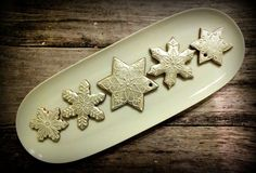 Christmas star and snowflake cookies - silver with white ornaments