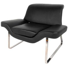 Beautiful Leather and Chrome Mid-Century Club Chair | From a unique collection of antique and modern club chairs at https://www.1stdibs.com/furniture/seating/club-chairs/