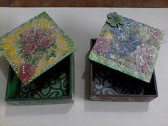 Cofres en mdf decoradas con flores
