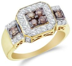 Size 9 - 14K Yellow Gold Large White and Chocolate Brown Diamond Halo Engagement OR Fashion Right Hand Ring Band - Square Princess Shape Center Setting w/ Channel Set Round Diamonds - (1.00 cttw)