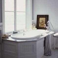 beadboard, white, carrara marble, drop-in tub, bathroom, white, spa like traditional bathroom from homerevivals.blogspot.com