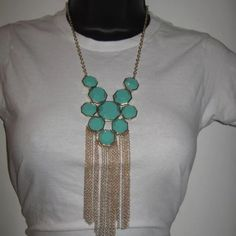 "Teal Green Statement Necklace w/ Gold Chain Teal green necklace w/ gold chain. Necklace is approx: 15.0"" (L) Jewelry Necklaces"