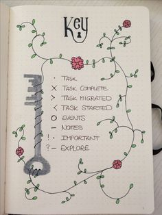 Bullet journal key page with  key and floral design