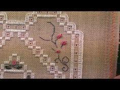 04 Heart Etui - Hardanger - Bullion Knots and Silk Ribbon Stitching - YouTube