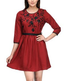 Red Floral Embroidered A-Line Dress - Women