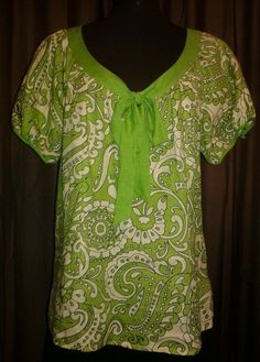 LILY STANHOPE Green Tan Linen Print Top Womens size Large  #LilyStanhope #LinentopBlouse