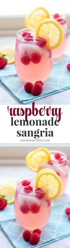 Raspberry Lemonade Sangria - Beautiful and delicious summertime sangria made super simple with frozen raspberry lemonade drink mix, wine, and vodka! Raspberry Lemonade Sangria - Beautiful and delicious summertime sangria made super simple w Fruity Drinks, Vodka Drinks, Smoothie Drinks, Cocktail Drinks, Fun Drinks, Yummy Drinks, Summer Cocktails, Summer Beverages, Smoothies