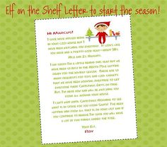 Elf on the shelf letter to start the season off.: