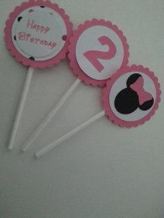 Cupcake Toppers Minnie Mouse 12 pieces by TutusAndSuperheroes on Etsy