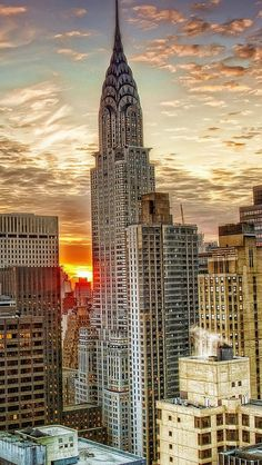 sunset  new_york_skyscrapers_top_view