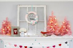 A charming vintage Valentine's Day Mantel from @bevrmccullough