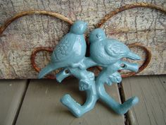2 Love Dove Birds on a branch with 2 Hooks. Turquoise. Refinished Cast Iron. Wrought Iron. ....CUSTOM painted $14