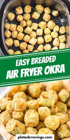 Air Fryer Okra made with a cornmeal and flour breading is crispy, delicious, and air fried to perfection in only 15 minutes! Air Fryer Dinner Recipes, Potluck Recipes, Party Recipes, Side Dish Recipes, Easy Party Food, Party Food And Drinks, Party Snacks, Southern Okra Recipe, Okra Recipes