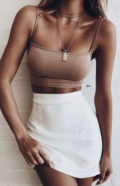 crop tanks + high waisted skirts | fashion nova | outfit ideas for women
