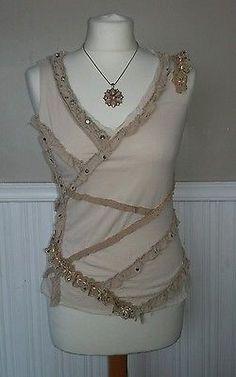Cream blouse size 8 river island vintage victorian steampunk gothic edwardian