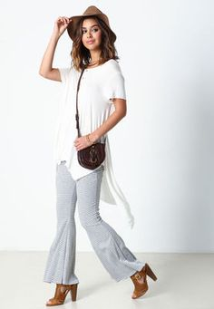 Ivory Draped Henley Knit Top,