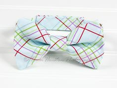 Boy's Bow Tie, Newborn, Baby, Child- Red, Green, Pink, Light Blue Plaid | Toma's Tutus and Things