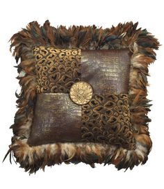 I love combining different textures in my pillows. Here, I've used a cut-velvet leopard with a faux leather croc pattern. I finished it off with rooster feathers and a carved medallion with a little Bling (of course!) Measures not including the feathers Glam Pillows, Leather Throw Pillows, Leather Pillow, Baby Pillows, Sofa Pillows, Accent Pillows, Cushions, Decor Pillows, Custom Pillows