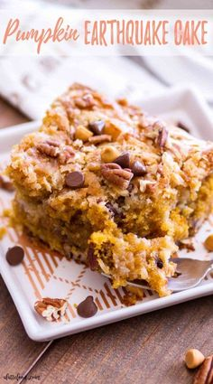 This Easy Pumpkin Earthquake Cake is one of the best fall dessert recipes! Doctored up cake mix is swirled with a cream cheese filling, making a rich, gooey pumpkin cake thats 100 over-the-top and downright delicious. Pumpkin Cake Recipes, Fall Dessert Recipes, Just Desserts, Fall Recipes, Easy Fall Desserts, Healthier Desserts, Sweets Recipes, Sweet Desserts, Thanksgiving Recipes