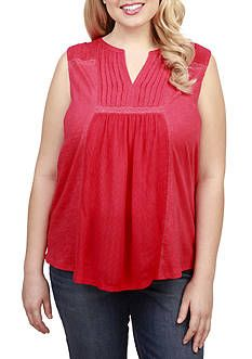 Lucky Brand Plus Size Embroidered Pintuck Tank