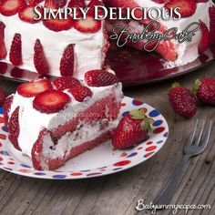 Strawberry Cake    Ingredients   1 package white cake mix (regular size)1 package (3 ounces) strawberry gelatin1 cup water1/2 cup canola oil1/2 cup mashed unsweetened strawberries  Frosting  1 cup heavy cream,1 cup confectioners sugar2 cups fresh strawberries, sliced or halved.     Directions  In a large bowl, combine the dry cake mix, gelatin powder, water and oil.Beat on low speed for 1 minute or until moistened; beat on medium for 4 minutes.In a small bowl with clean beaters, beat egg…