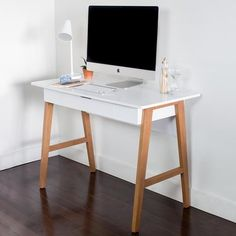 Cheap Nathan James 51101 Telos Home Office Computer Desk with Drawer Or Makeup Vanity Table, For Small Spaces, White Home Office Computer Desk, Wood Computer Desk, Home Office Furniture, Office Table, Cool Furniture, Furniture Design, Small Office Desk, Gothic Furniture, Furniture Legs