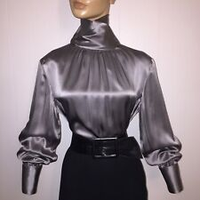 12 L Silver Gray Silk Liquid Satin Vintage High Neck Blouse 42 Bust Austin Reed Liquid Satin High Neck Blouse Austin Reed