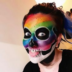Halloween skull makeup with a colorful flair