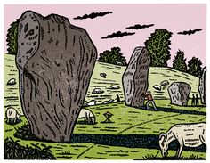 Christopher Brown | Central Illustration Agency #linocut #printmaking #chrisbrown #print #environment #architecture #sheep #rock #outdoors #illustrator
