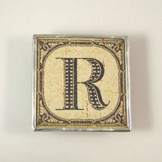 Letter R Initial Magnet Alpha Letter, Letter F, Project R, Number Art, Diy Magnets, Rest And Relaxation, Alphabet And Numbers, Polymer Clay Art, Brush Lettering