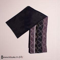 Hanhaba Obi noir motif brodé agrenté kitsuke