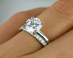 2 ctw mariage défini anneau Solitaire rond par TigerGemstones
