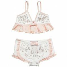 Miss Blumarine Girls White and Pink Diamante Bikini Set at Childrensalon.com