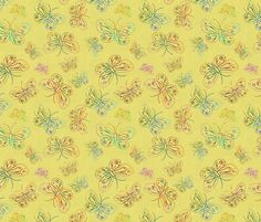 BUTTERFLIES EMBROIDERY ON LINEN Yellow fabric by paysmage on Spoonflower - custom fabric