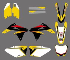 0145  Yellow &White NEW TEAM DECALS STICKERS GraphicS FOR  RMZ450 2008 2009 2010 2011 2012 Motorbike Accessories, Tv Tuner, Decals, Graphics, Stickers, Yellow, Art, Art Background, Tags