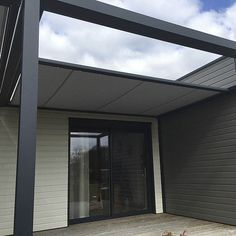 Self-supporting pergola / aluminum / fabric sliding canopy / custom IDÉEÀ TERRASSE® : ID2 SUN Abritez-vous chez nous