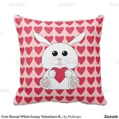 Cute Kawaii White bunny with Red Valentines Hearts Throw Pillow by #PLdesign #ValentinesBunny #ValentinesGift