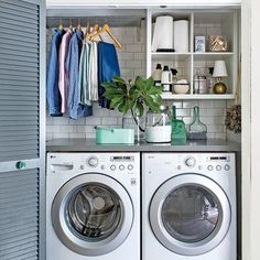 Laundry Room Ideas. Small Space Organizing Tips: Laundry Room with Blue Doors