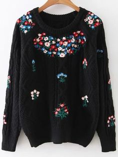 Flower Embroidered Sweater Fall Sweaters For Women, Cute Sweaters, Cable Knit Sweaters, Cardigans For Women, Black Sweaters, Pullover Sweaters, Blouses For Women, Sweater Fashion, Sweater Outfits