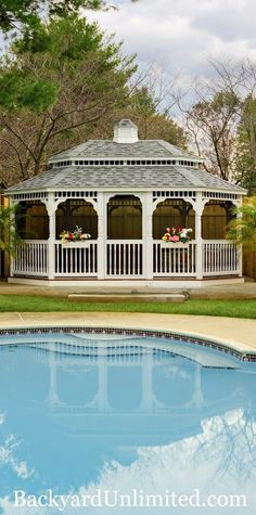 14'x20' Oval Colonial Style Vinyl Gazebo with Pagoda Roof, Cupola, Turned Posts, and Screen Package http://www.backyardunlimited.com/gazebos