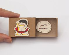 "Cute Friendship Card ""You're awesome"" Matchbox / Gift box / Message box / Superman"