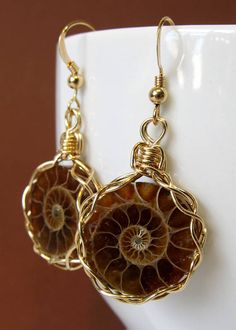 Ammonite Earrings Handmade Wire Wrapped Earrings Gold Filled