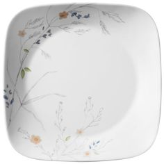 Subtle stems dotted with soft notes of color make a natural statement on our salad plates. Square Dinnerware Set, Dinnerware Sets, Corelle Plates, Tableware, Square Plates, Porcelain Mugs, Stoneware Mugs, Cereal Bowls, Convenience Food