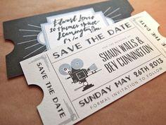 Save The Date en forma de entradas de cine vintage / Wedding Stationary / LBDA - La Boda Del Año /