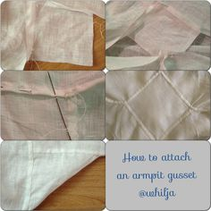 1) cut out 10-15 cm square and attach the gusset in the corner between sleeve and bodice part. 2) attach the opposite corner to the other side of sleeve/bodice. 3) choose the center of one side of the gusset, fold and finish the hem to the corner, fold over the next side and continue until all four sides are finished. 4) they should now overlap each other. 5) the natural bias of the gusset will help the movability of your arm