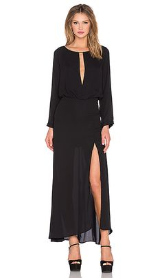 Shop for krisa Deep V Slit Maxi Dress in Black at REVOLVE. Free 2-3 day shipping and returns, 30 day price match guarantee.