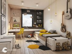 Basement Design for Teens Boys Bedroom Furniture, Boys Bedroom Decor, Jugendschlafzimmer Designs, Boys Room Design, Teen Bedroom Designs, Teenage Room, Boy Room, Room Interior, Interior Design